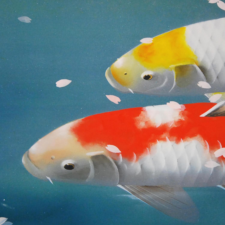 Koi Fish (Carp): Cherry Blossoms Painting / Shukou Okamoto ...