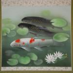 0079 Koi Fish (Carp): Water Lilies / Shukou Okamoto 002