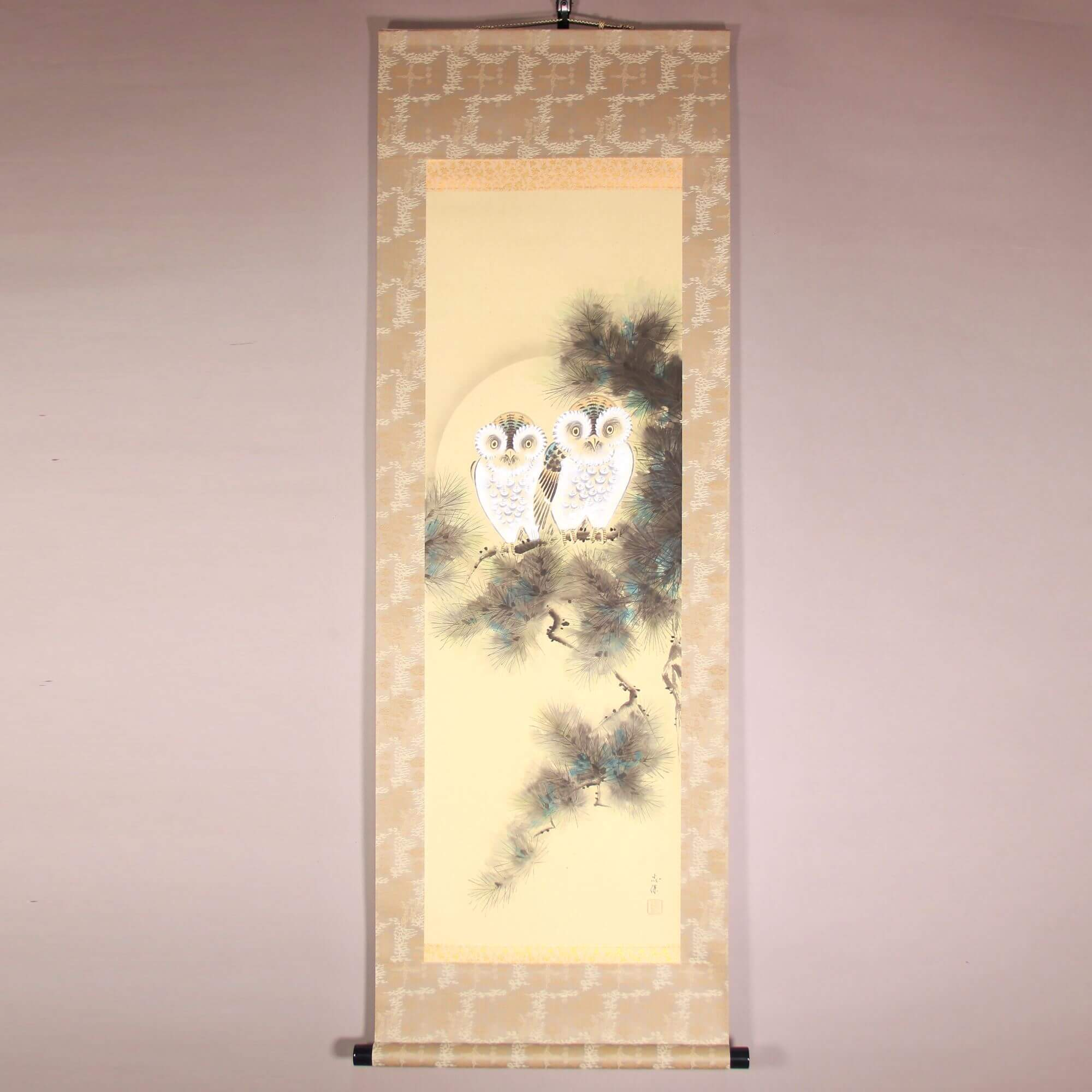 owls painting kakejiku hanging scroll
