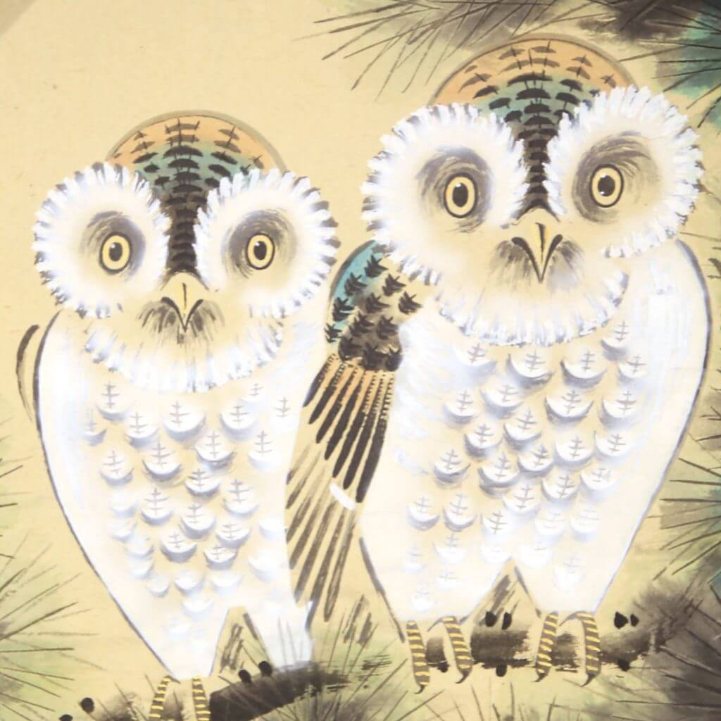owls painting kakejiku hanging scroll