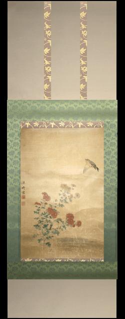 kakejiku hanging scroll painting Japanese Germany damaged remount