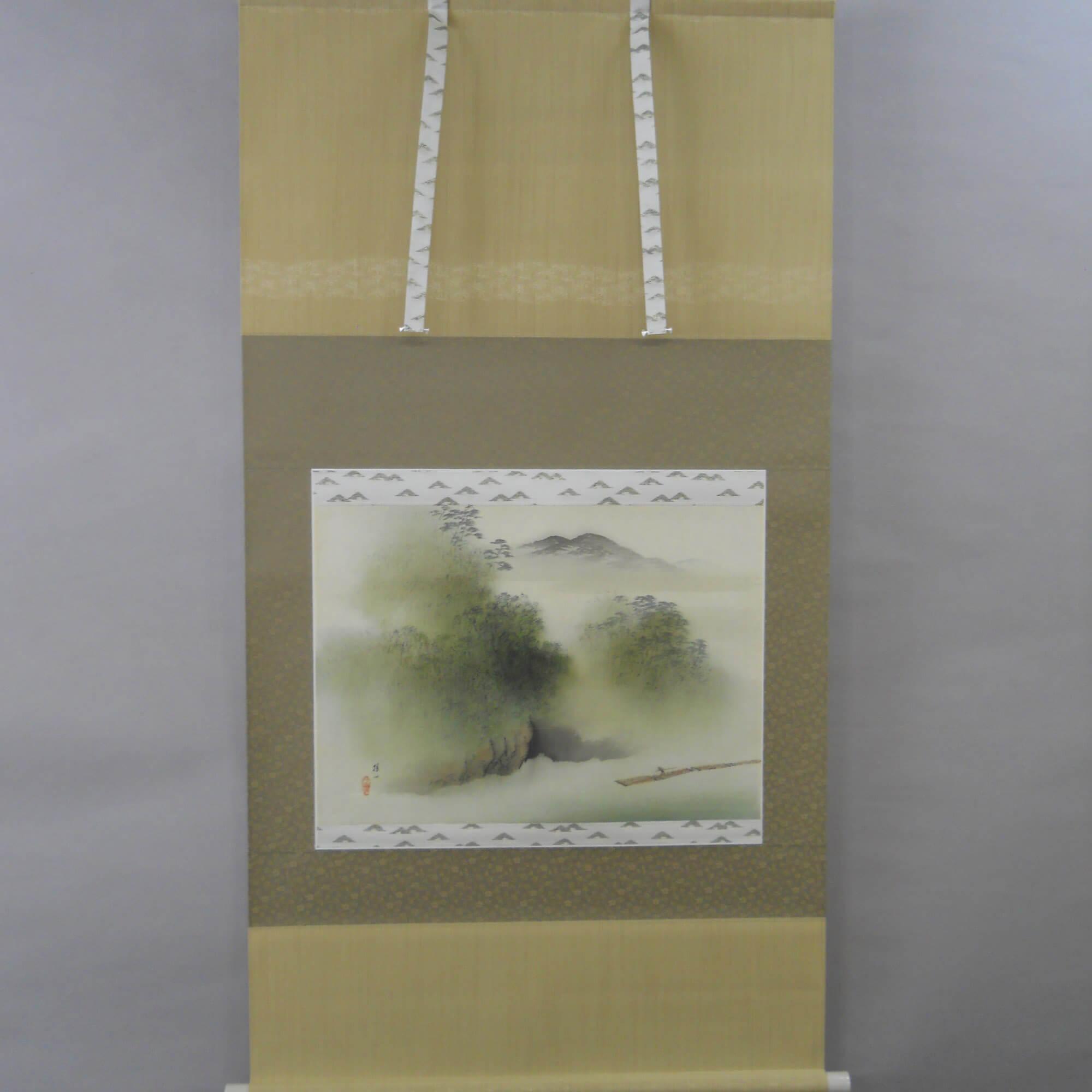Landscape Painting: Arashiyama Gorge and Raft / Hirai Baisen