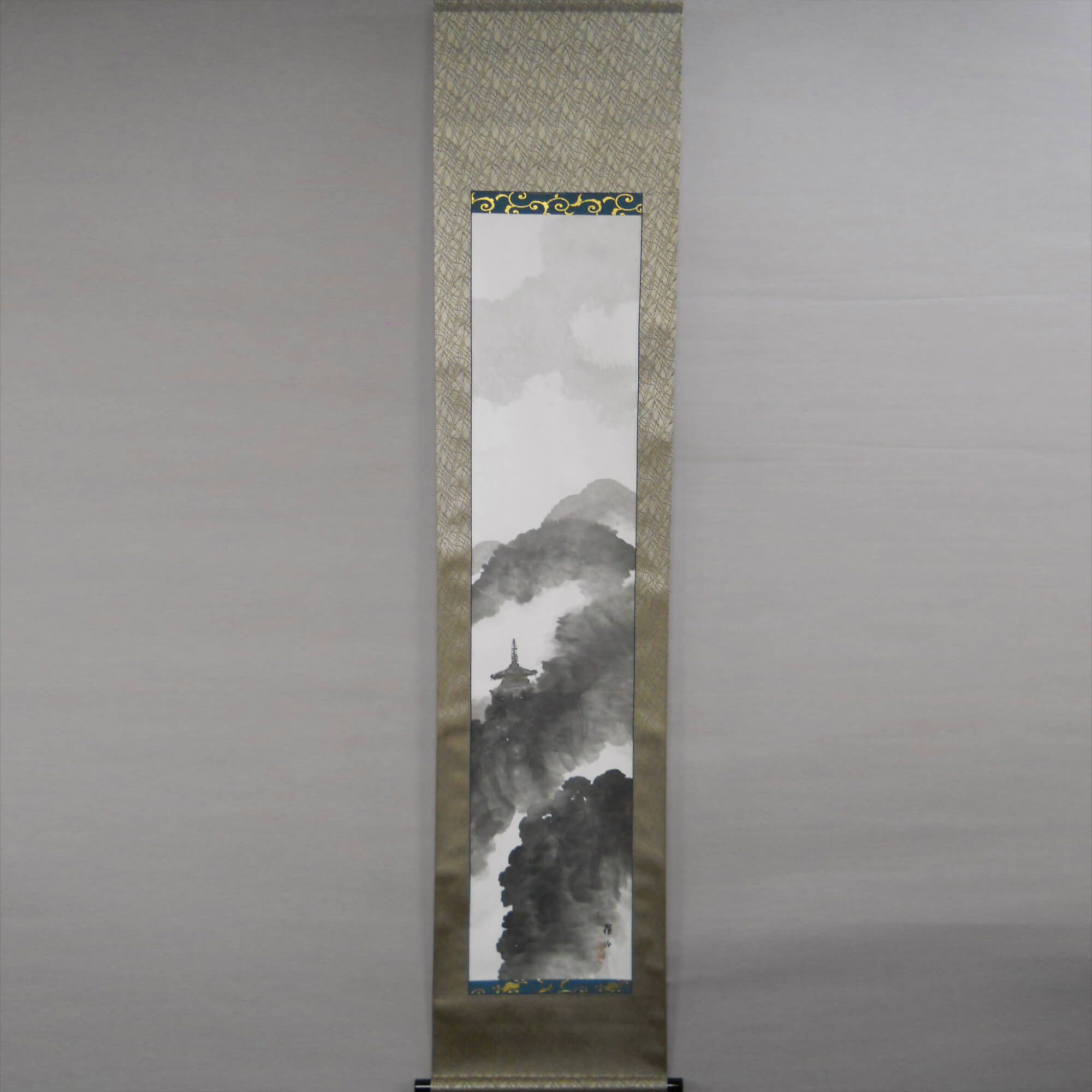 Landscape Painting: Mounting Temple in the Rain / Hirai Baisen