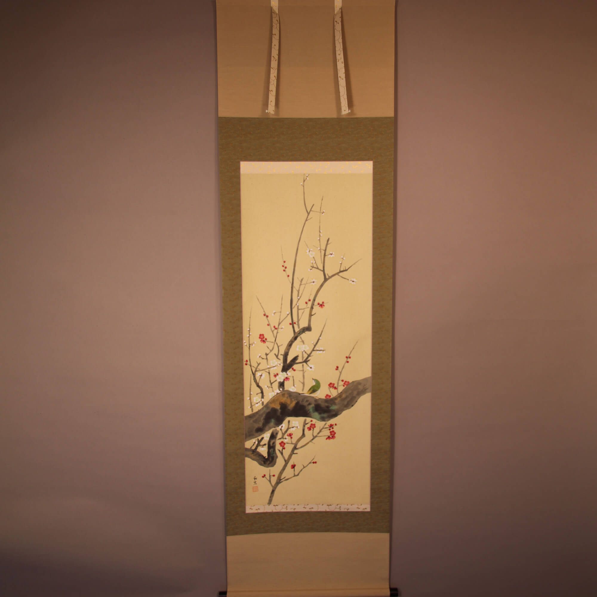 Red & White Plum Blossoms and A Bush Warbler / Miyake Wakō