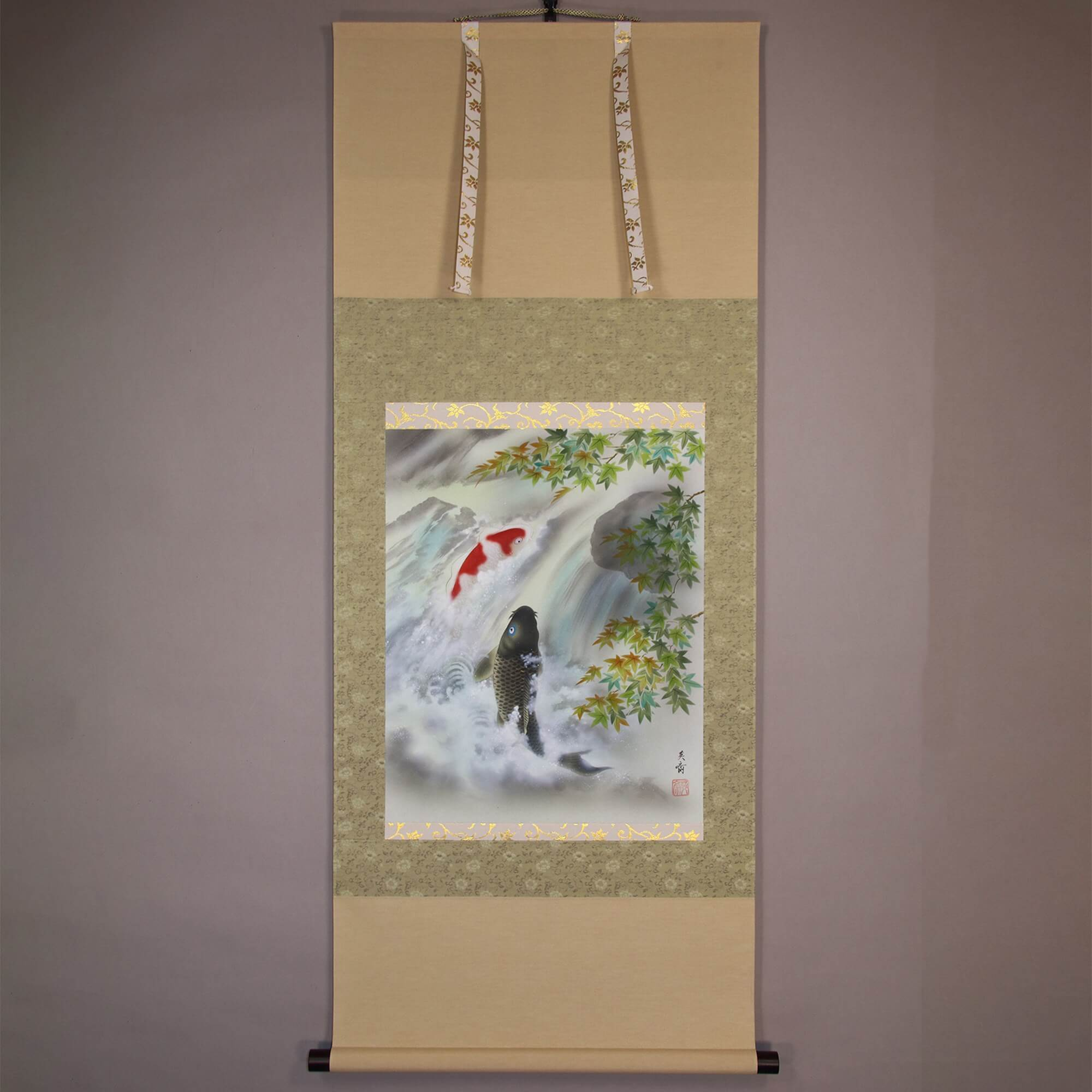 A Maple Tree and a Couple of Carps Climbing Up a Waterfall / Miyake Eisai