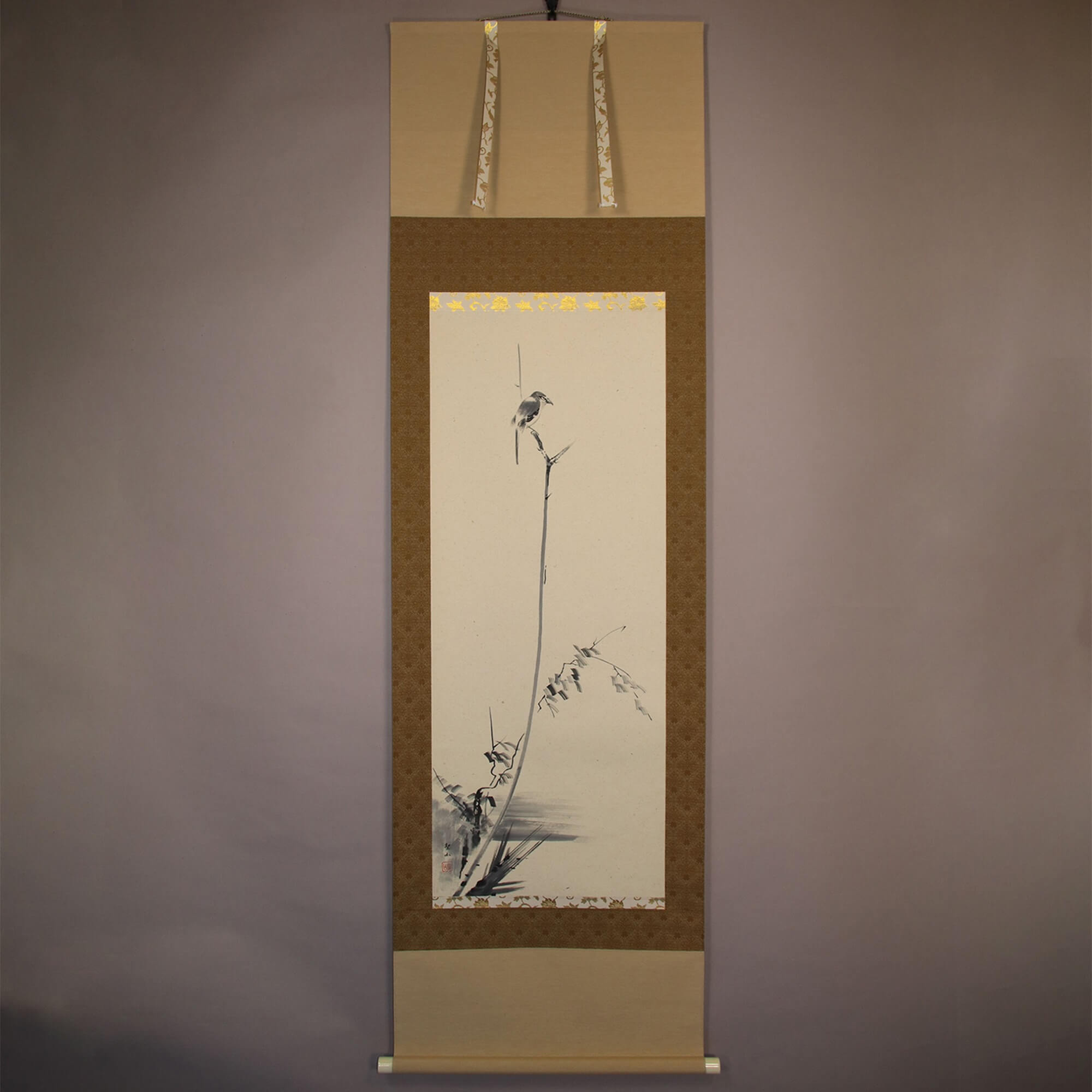 A Shrike Perching on a Withered Shrub / Kuzuya Seizan